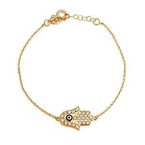 Bling Jewelry Gold Plated CZ Hamsa Hand Evil Eye Bracelet Sterling Silver 7.5in