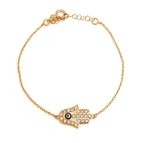 Bling Jewelry Oro Vermeil CZ Hamsa diabolico della mano Bracciale Occhio Sterling Silver 7.5in