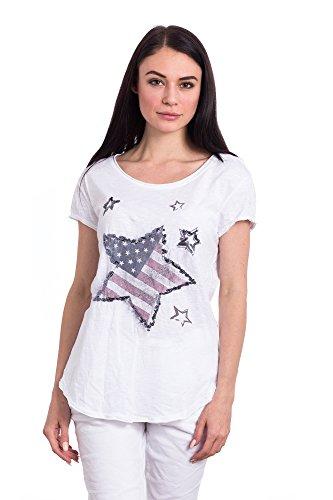 Abbino Basics Basiques Tops T-shirts Femmes - Fabriqué en Italie - Plusieurs Couleurs - Transition Printemps Été Automne Plaine Elegant Classique Vintage Casual Manches Courtes Uni - Taille Unique Blanc (Art. C677-1)