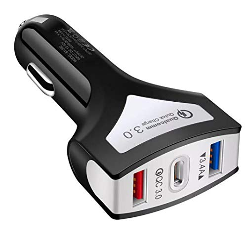 Trasmettitore FM per auto, 3 porte USB di tipo C QC3.0, adattatore di alimentazione rapido per telefono Nero