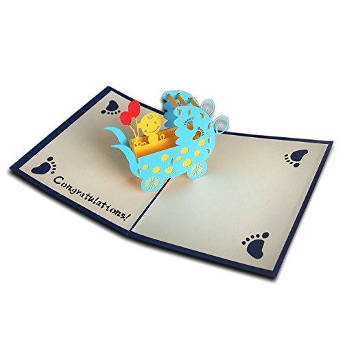 Baby-geschenk-karte Neue (3D Pop up Baby Karte Happy Birthday Neugeborenen Geschenk für neue Eltern Grußkarte mit Umschlag und Love Kraft Aufkleber Jahrestag, Kutsche Geschenk handgefertigt Craft Grußkarten)
