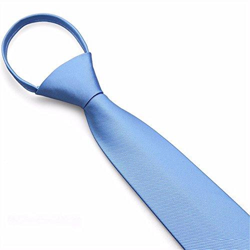 GENTLEE TIELa versión coreana de hombres Trajes de boda gris negocio novio negro persona perezosa para tirar abajo una corbata de cremallera estrecho 7CM, azul claro