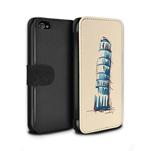 Stuff4 Coque/Etui/Housse Cuir PU Case/Cover pour Apple iPhone 4/4S / Statue de la Liberté Design / Monuments Collection La Tour penchée de Pise