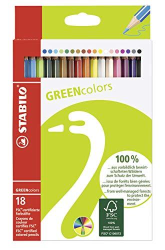 Umweltfreundlicher Buntstift - STABILO GREENcolors - 18er Pack - mit 18 verschiedenen Farben -