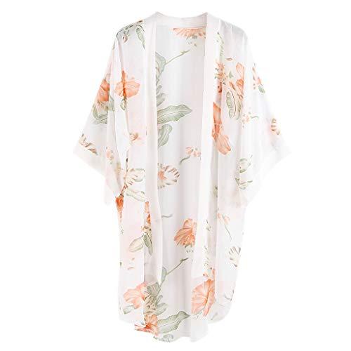 Trim Knit Cardigan (Watermk 3 Farben Frauen Sommer Japanischen Stil Halbarm Kimono Cape Vintage Farbige Floral Bedruckte Open Front Cardigan Semi-Sheer Lose Breite Trim Beachwear, Weiß)