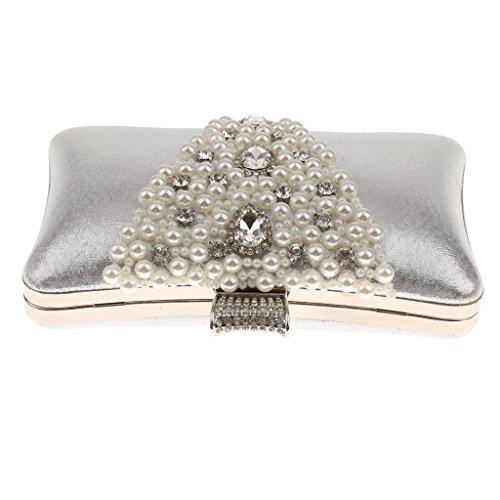 Generic Donna Sposa Perle Diamante Pochette Borsa Portafoglio Borsetta Per Sera Prom Cocktail Partito Argento