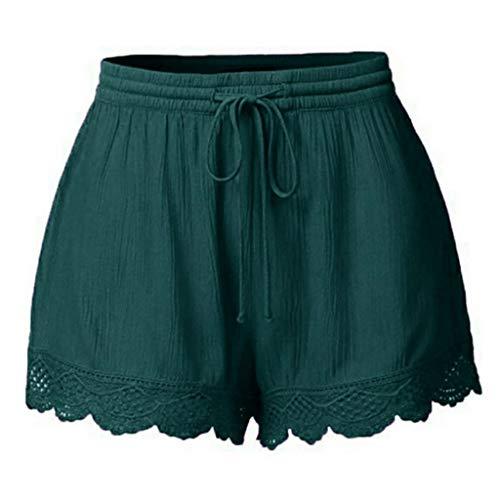 Lonshell Damen Spitze Shorts Yoga Sporthosen Sommerhosen High Waist Mode Kordelzug Kurze Hose Pants mit Taillenband Elegant Hotpants Strandshorts (Shorts Frau)
