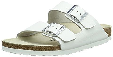 Birkenstock Classic Arizona Leder, Unisex-Erwachsene Pantoletten, Weiß (Weiß), 38 EU