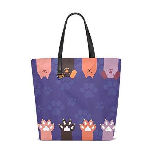 TIZORAX Katzen, Hunde, Pfoten, Krallen, Reisetasche, Strandtasche, Einkaufstasche, Handtasche für Damen und Mädchen
