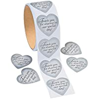 Fun Express Silver Heart Thank You Stickers (1 roll)
