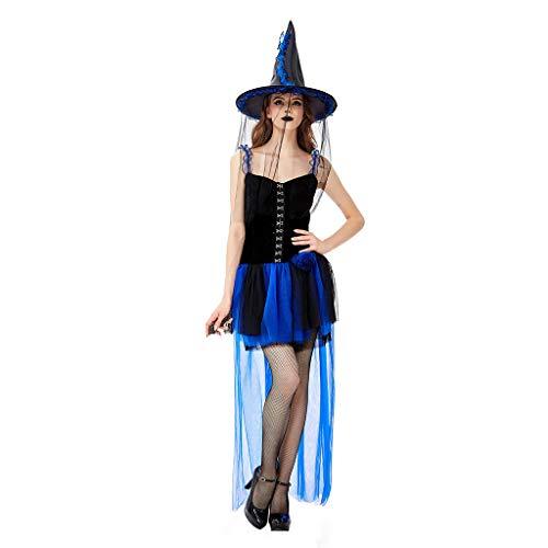 Kostüm Lady Kürbis - chenpaif Womens Halloween Hexe Cosplay Kostüm Kürbis unter dem Motto ärmellose Long Tail Mesh Mini Tutu Kleid mit Rüschen Hut Party Requisiten blau M