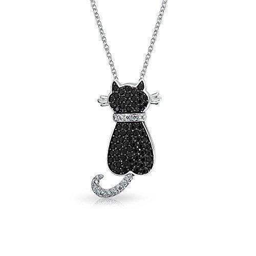 Bling Jewelry Blanco y Negro Gato sentado allanar CZ Colgante Animal Collar 18en chapados en Rodio