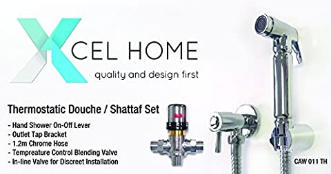 Xcel, Chrome musulmane thermostatique Shattaf Bidet Douche Ensemble de pommeau de douche WC Douchette Laiton d
