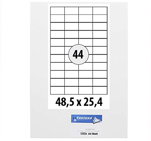 500x A4 Bögen Etiketten 48.5 x 25.4 mm für Amazon FBA Versand, 44x je Blatt (500 A4 Blätter) 48x25 weiße selbstklebende Faxland Versandetiketten