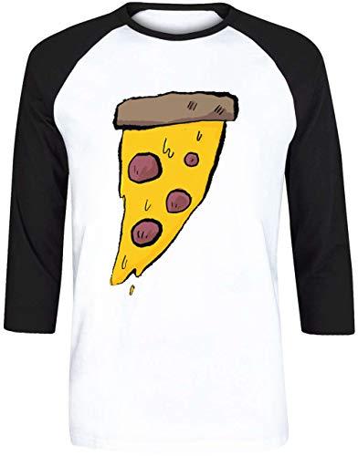 Pizza - Pizza Herren Weiß Schwarz Baseball T-Shirt 3/4 Ärmel Größe XL | Men's White Black Baseball T-Shirt Size XL (Bekleidung Pizza Dominos)