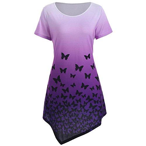 Longra Damen Shirtkleider Hemdkleid Blusekleid T-Shirtkleid mit Schmetterlings Druck Romantisch...