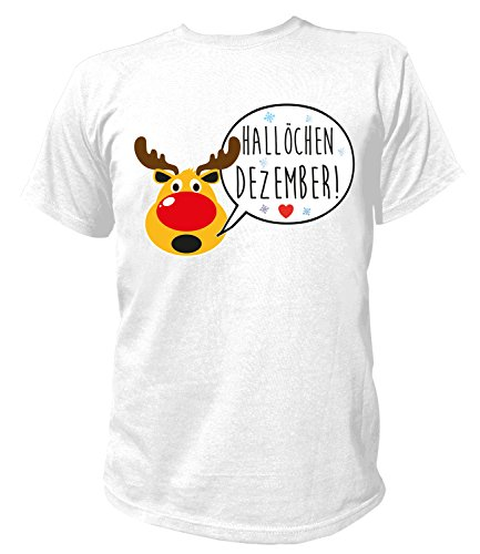Artdiktat Herren T-Shirt - Hallöchen Dezember! Größe L weiß (Grinch Kostüme Für Kinder)