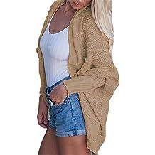 5b746733eb70 YOGLY Femme Loosse Cardigan Long Femme Manches Longues Veste Ouvert Gilet  Asymétrique Chandail en Tricot Casual