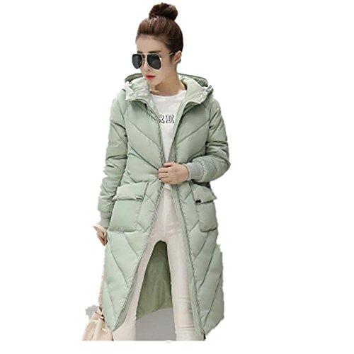 Zearo Mit Kapuze Baumwoll Mantel,Damen Winter Jacke Unten Baumwolle Outwear?Hellgrün,L?