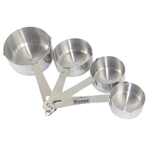 Dianoo 4PCS taza de medir, de lujo acero inoxidable medición vaso conjunto, un conjunto de 4 (plata)