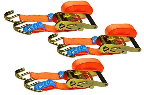 Red Tools Spanngurt Ratschenspanngurt 6 Meter Lang 35 mm Lang bis zu 2 Tonnen im 3 TLG. Set Gewerblich und Privat nach DIN Norm