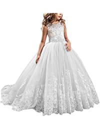 Flower Girls First Communion Dress Lace Applique Embroidered Kids Princess  Wedding Bridesmaid Floor Length Layered Puffy a6669abd1aeb