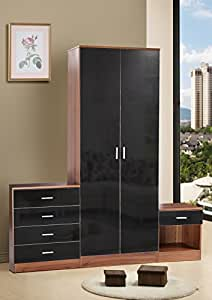 High Gloss Black trio Bedroom Set