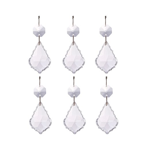 H & D 38 mm Glas kristall Barock Ahorn Blatt Facettenreich Barock Maple Leaf mit Achteck Perlen,10 Stück,klar