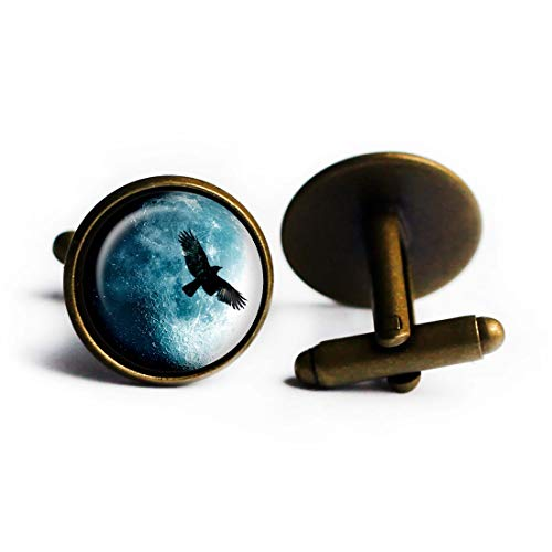 Halloween Full Moon Raven Vollmond Rabe Antike Bronze -