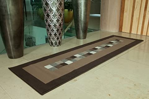 Ultra Modern Dark & Light Brown Runner Rug 10 Sizes Available 80cm x 320cm (2ft 7