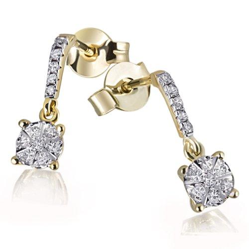Goldmaid Damen-Ohrhänger Glamour 585 Gelbgold 24 Diamanten 0,11 ct. Schmuck (Pave Diamant-ohrringe)