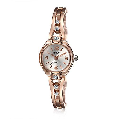 Quarz Damen Armbanduhr Swarovski-Kristall, Edelstahl, Roségold