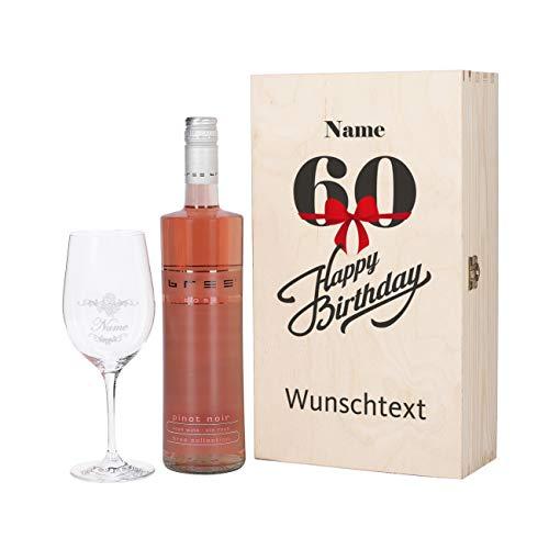 Herz & Heim® Bree Wein-Präsent mit graviertem Weinglas und Bree Wein zur Auswahl in Geschenkkiste zum 60. Geburtstag Rosé