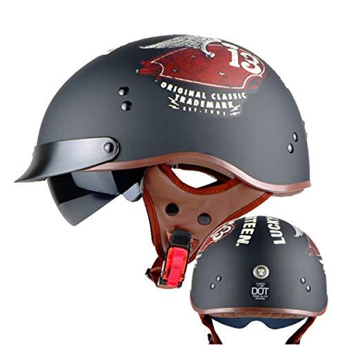 Tutu Tank (WVW Motorradhelm Herren Halbhelme Retro Harley Helm Mit Inneren Sonnenblende Vintage Halbe Gesicht Motorrad Sommer Motorrad Helme Dot, Tank-M(57~58cm))