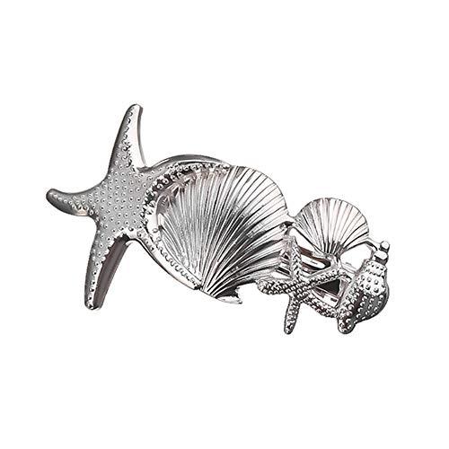 Qinlee Shell Seestern Haarspangen Haarklammern Hair Clips Perlen Metall Gold Haar Geflecht Ringe Shell Anhänger Charms Ringe Set Haarspange Stirnband Zubehö für Mädchen und Damen Frauen