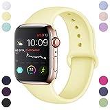 Hamile Compatible avec Apple Watch Bracelet 42mm 44mm, Sport en Silicone Souple Remplacement Bracelet pour Apple Watch Series 5/4/3/2/1, S/M, Jaune Doux
