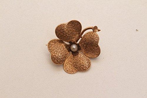vintage13.de Schöne Antike Brosche Gold 585 4-blättriges Kleeblatt Kleine Perle Biedermeier