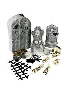 Smiffys-Colección Cementerio de 24 Piezas, con lápidas y Accesorios, Color Gris, No es Applicable (Smiffy