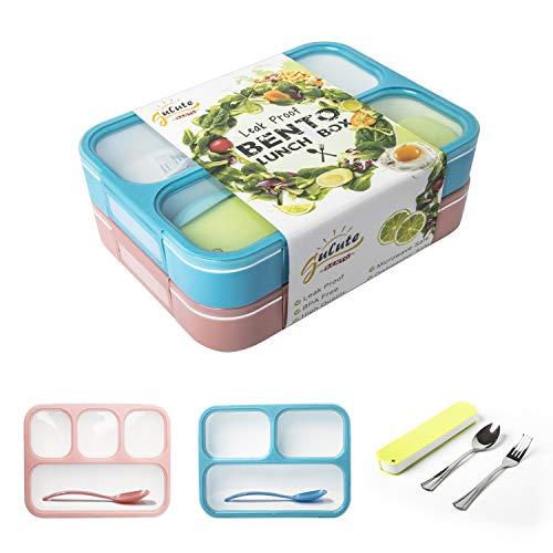 Lecksicher Bento-Boxen Container für Kinder und Erwachsene Lunch Bento Box Set mit 3und 4Fächer Mikrowelle und spülmaschinenfest BPA frei Lunch Box für Arbeit Schule Reisen 1000 ml Blau/Rosa - Rosa Erwachsenen-lunch-box