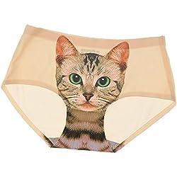 Sharplace Mujeres Bragas Ropa Interior Impresión Minino Gato Escritos Inconsútiles Color Desnuda - Beige, una talla para todos