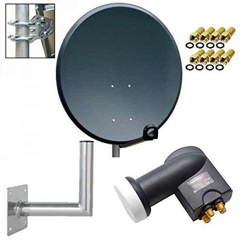 PremiumX digitale SAT Anlage 80 cm Stahl Schüssel Spiegel Antenne Anthrazit + Quad LNB PXQS-SE 0,1dB für 4 Teilnehmer + Wandhalter 35cm ALU TÜV-Geprüft + 8x F-Stecker