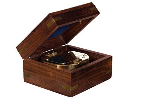 Dekorativer voll Funktionsfähiger großer nautischer Kompass 13021 aus Messing in edler Geschenk Holzbox . Nautik Optik, Boot, Schiff, Maritim , Nostalgie