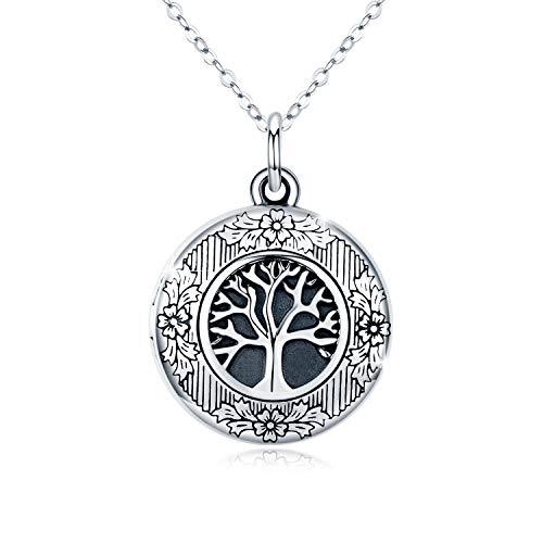 Lebensbaum Kette Medaillon Halskette 925 Sterling Silber Foto Bilder Kette Anhänger Halskette Oxidiert Baum des Lebens Amulett Familie Geschenk für Damen Frauen Mädchen Mutter Jubiläum