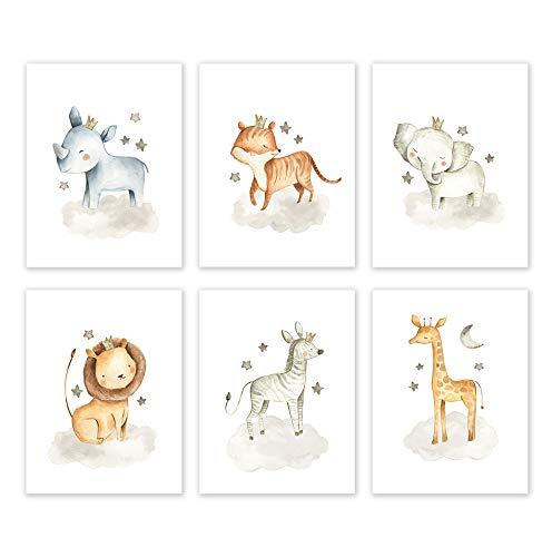 Stickerbrand Tierposter ungerahmt Safari-Kindergarten für Baby-Dusche, Kinderzimmer oder Baddekoration 11in X 14in Großwild