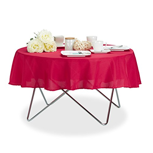 Relaxdays Tischdecke wasserabweisend, pflegeleicht, Polyester-Tischtuch, bügelfest, Gartentischdecke rund D: 140 cm, rot