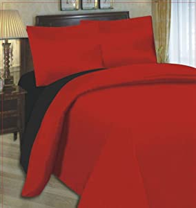 6PC COMPLETE REVERSIBLE BLACK / RED DOUBLE DUVET COVER & FITTED SHEET BED SET by Viceroybedding