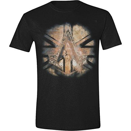 Assassins-Creed-Syndicate-Gold-Flag-Crest-Herren-T-Shirt-Schwarz