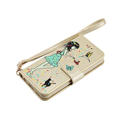 iPhone 7 Custodia, Case del portafoglio [ Cuoio Premium PU ] iPhone 7 Copertura Supporto per scheda di funzione del supporto per notebook e Slot Cover Shell - farfalla Ragazza gatto ( doro ) doro
