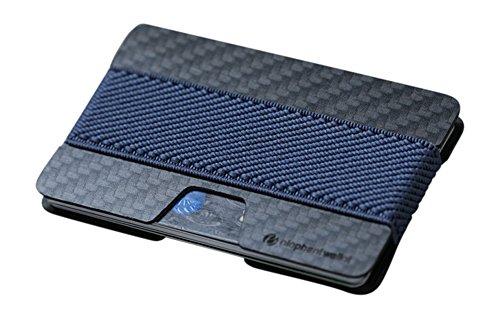 Elephant Wallet N Mini Geldbörse Small Portemonnaie Kleines Portmonee Minimalisten Kartenhalter präsentiert von becoda24 in versch. Farben (Carbon - Navy) - Ultra Slim Wallet
