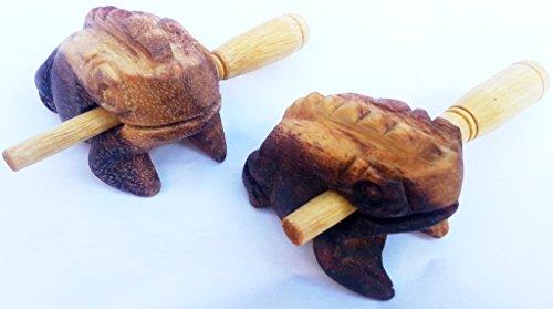 Holz Guiro Frosch Percussion Klang-Frosch Musik-Spielzeug-Instrument-Tier-e Set aus HolzFrosch 2 Stück a 4 cm ohne Chemie - diverse Designs